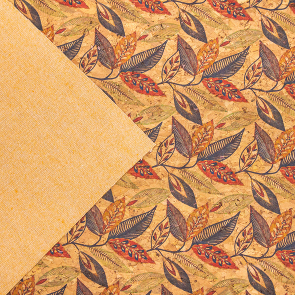 Leaves pattern cork fabric cork sheet korkstoff COF-308