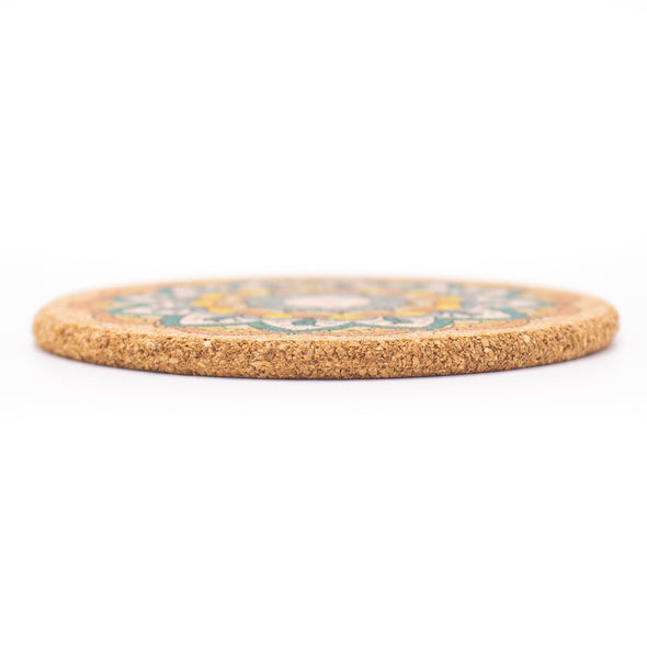 Natural cork cup Coaster cork round with pattern coaster 10cm/4 inch L-053