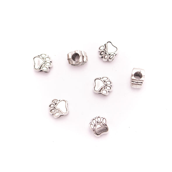 10PCS For 5mm leather antique silver zamak 5mm round Cat's footprints beads Jewelry supply Findings Components- D-5-5-167