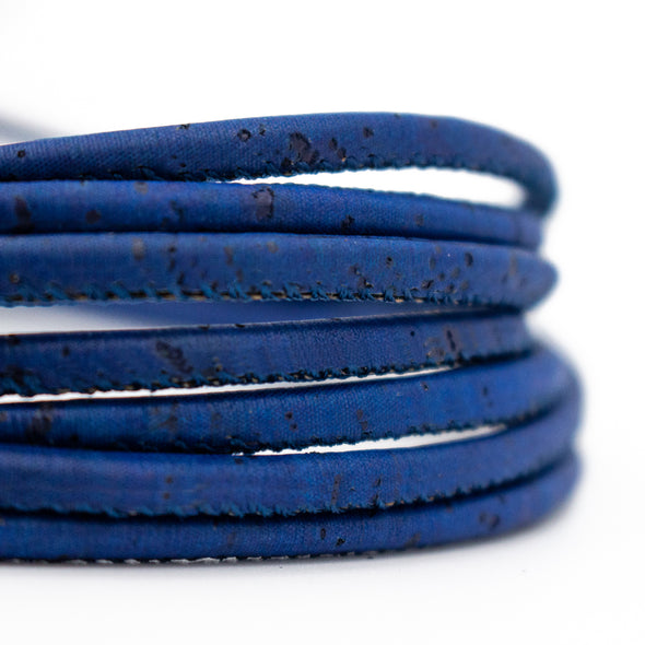 10Meter Dark blue 3mm round cork cord  COR-173