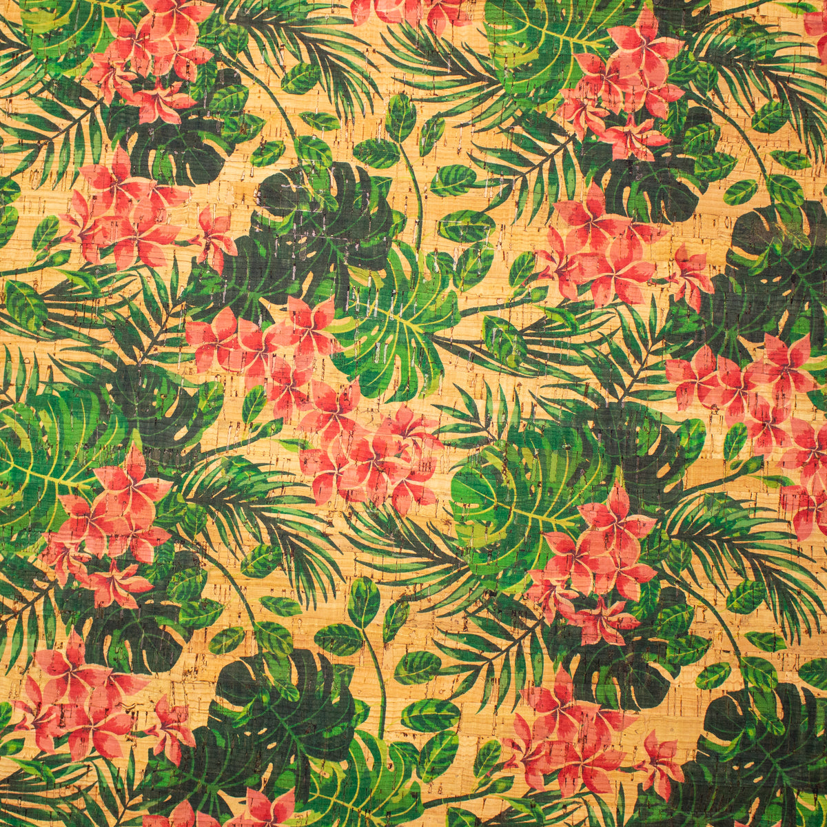 Natural cork fabric patterned with Scorpion bird fabric flower COF-201