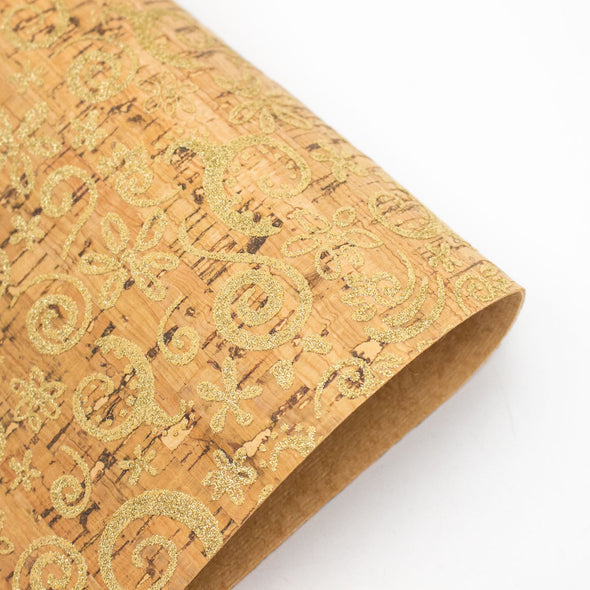 Sparkly Gold arabesque pattern Cork fabric COF-173