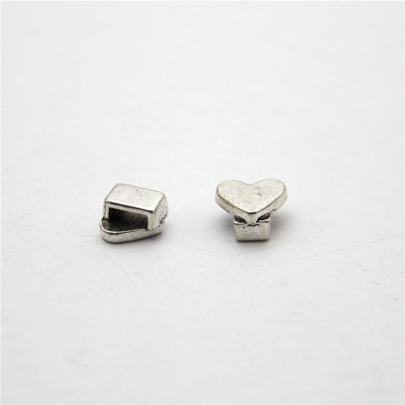 20units For 5mm flat leather love heart slider Antique sliver zamak slider jewelry finding supplies D-1-5-38