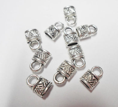 50Pcs for 4mm Flat leather ends clasp, Antique Silver jewelry supplies jewelry finding D-6-20