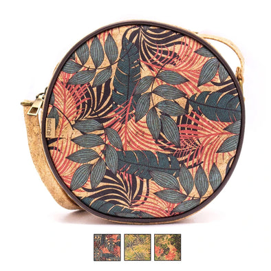 Round Cork Crossbody Bag with Tropical print| Made with Cork Fabric (Bag-2022)