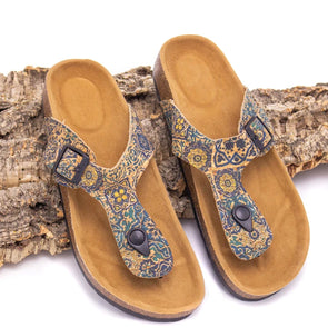 Printed cork holiday sandals L-505