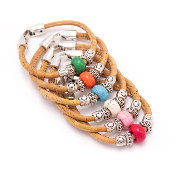 Cork with Colored beads- handmade bracelet BR-440-MIX-6