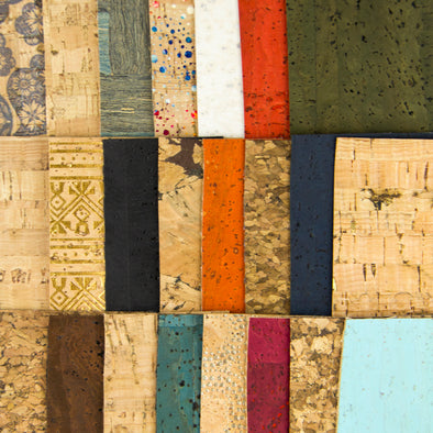 Small size Cork fabric sample random5X8cm(about)10pcs-F-802