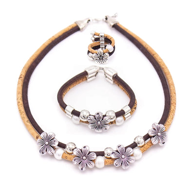 Floral pearl women's original jewelry set -Handmade with eco materials  Set-029