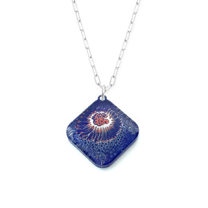 Sea Crustacean Necklace - red white and blue