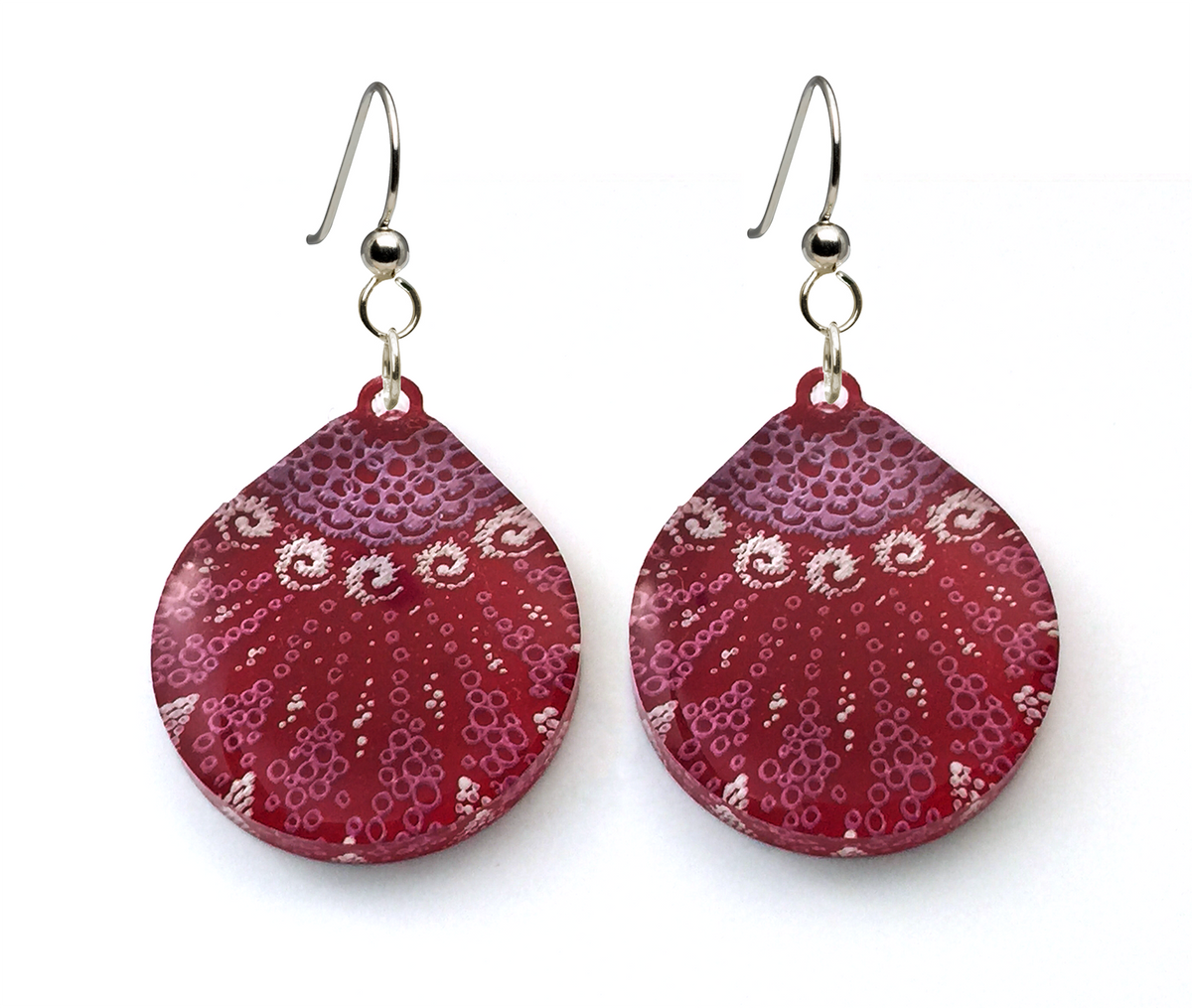 Starfish Earrings, Large Teardrop shape, Magenta, From Lab Partners Jewelry