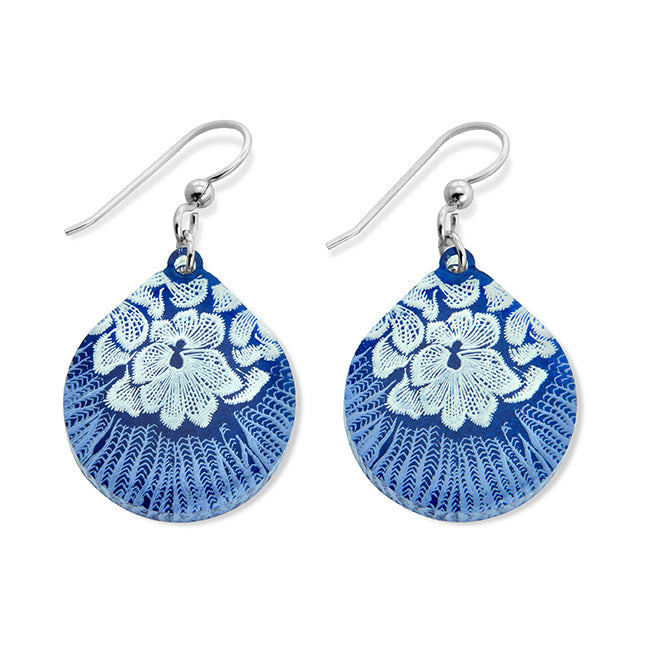 Flower Mollusk Shell Earrings - Large Teardrop