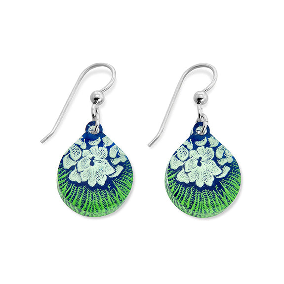 Flower Mollusk Shell Earrings Small Teardrop