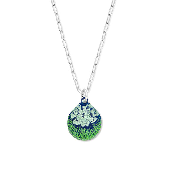 Flower Mollusk Shell Necklace Small Teardrop