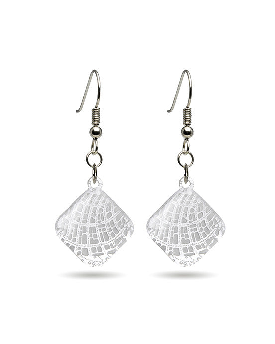 Sea Crustacean Earrings Map Design - Diamond