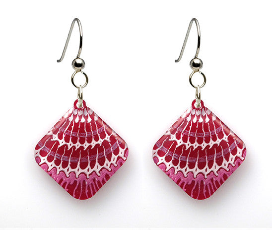 Shell Mollusk Pattern Earrings - Diamond