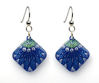 Starfish Earrings, diamond shape, blue green from Lab Partners Jewelry