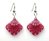 Starfish Earrings, diamond shape, magenta from Lab Partners Jewelry
