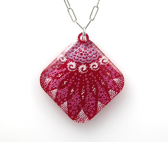 Starfish Necklace - Diamond Shaped - Magenta - From Lab Partners Jewelry