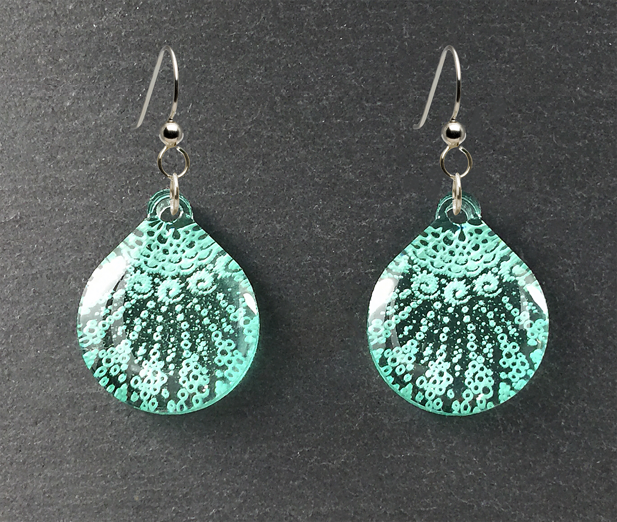 Starfish Earrings, Small Teardrop shape, Sea Foam Green, From Lab Partners Jewelry