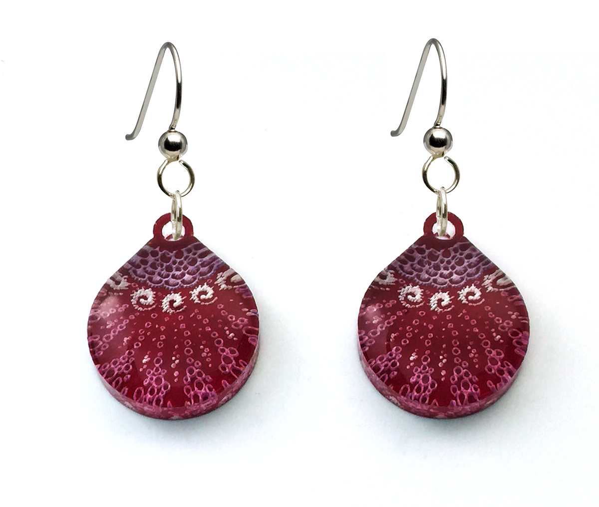 Starfish Earrings, Small Teardrop shape, Magenta, From Lab Partners Jewelry