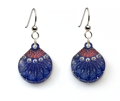 Starfish Earrings, Small Teardrop shape, Red White Blue, From Lab Partners Jewelry