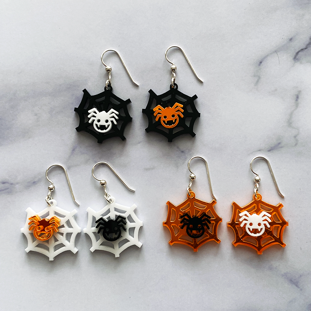 Halloween Happy Spider on its Web Earrings