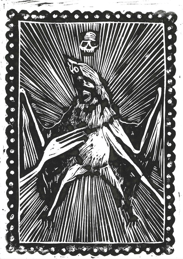 "Covid Chronicles ""Appetite for Destruction"" Lino Print By Lee Ellis"