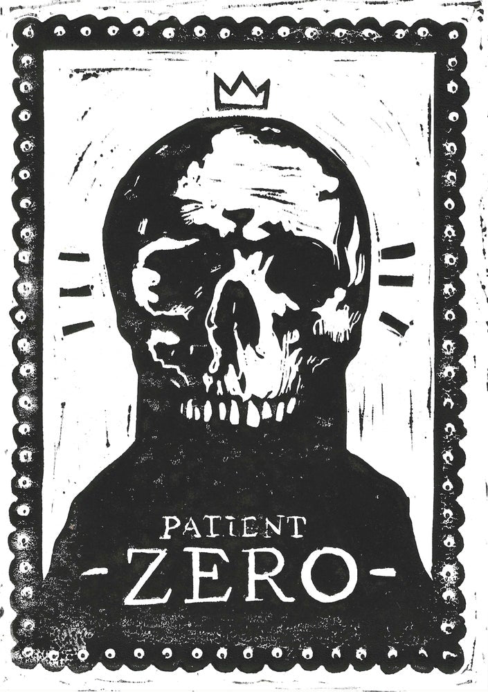 "Covid Chronicles ""Patient Zero"" Lino Print By Lee Ellis"