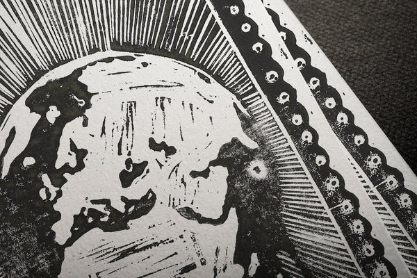 "Covid Chronicles ""The Earth Died Screaming"" Lino Print By Lee Ellis"