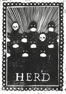 "Covid Chronicles ""Herd Immunity"" Lino Print By Lee Ellis"