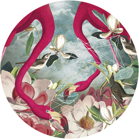 """Flamingo Flowers"" Original Print By Alexandra Gallagher"