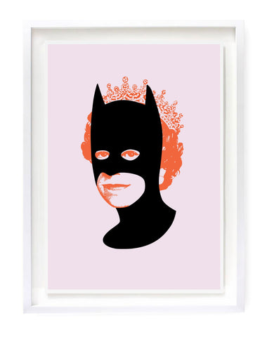 Rich Enough to be Batman - Neon Orange and Pink Flock Limited Edition By Heath Kane