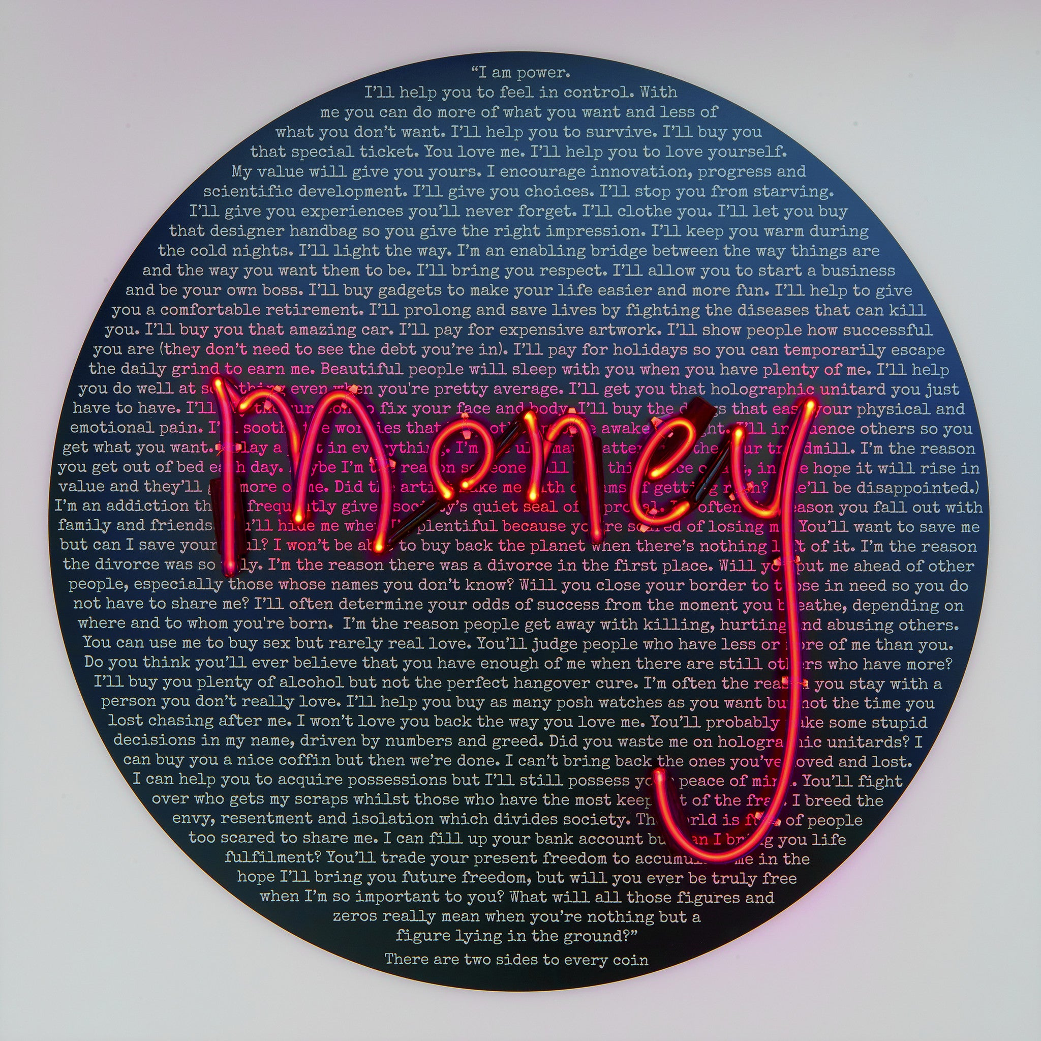 """Money Talks: Undersharing"" Original Neon by REBECCA MASON"