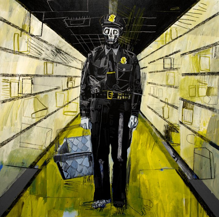 """Policeman Zombie In The Looted Supermarket"" Original Work By Carp Matthew"