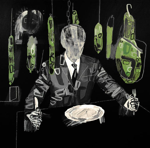 """Grey Man With Radioactive Pork"" Original Painting By Carp Matthew"