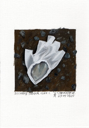 """Discarded surgical glove 1."" Original painting on Paper By Carp Matthew"