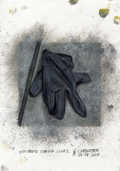 """Discarded surgical glove 2."" Original painting on Paper By Carp Matthew"