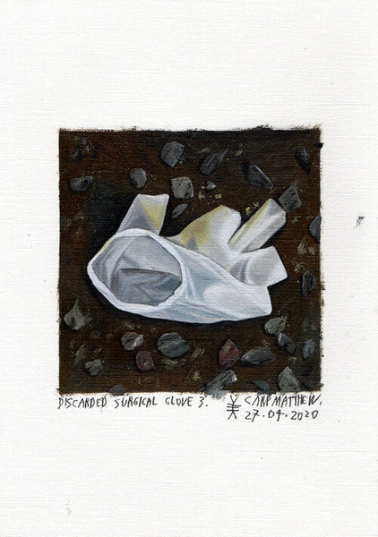 """Discarded surgical glove 3"" Original painting on Paper By Carp Matthew"