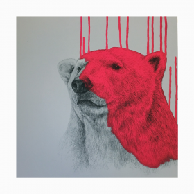 """Hey There, Polar Bear - Neon Pink"" Louise McNaught"