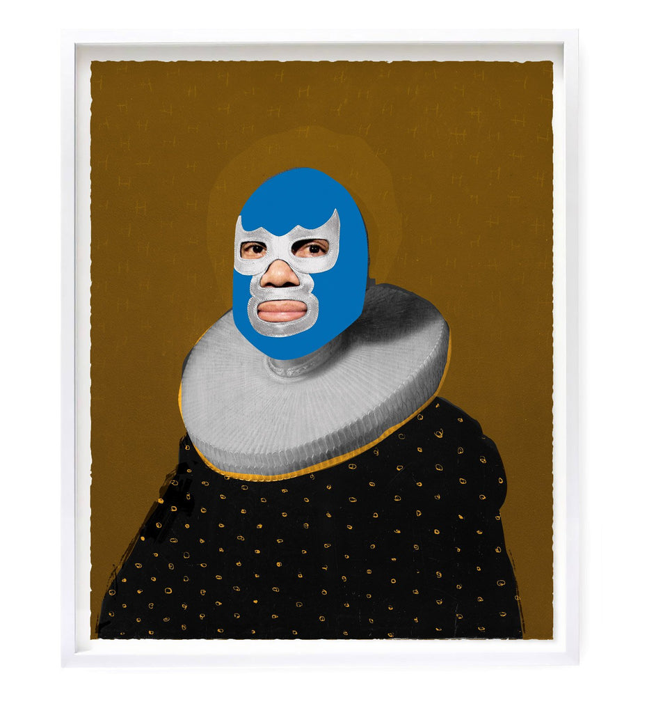 """Portrait of Heroes - Blue Devil"" Original Print By Heath Kane"