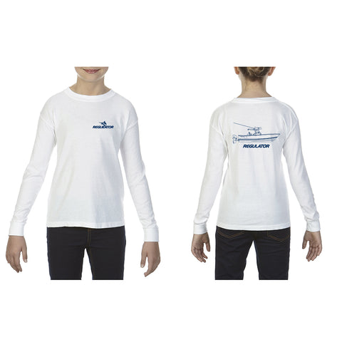 Youth Comfort Colors Long Sleeve Boat Imprint Shirt- White