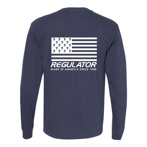 Comfort Colors Long Sleeve Flag Imprint Shirt - True Navy