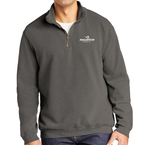 Embroidered Comfort Colors 1/4 Zip Sweatshirt- Grey
