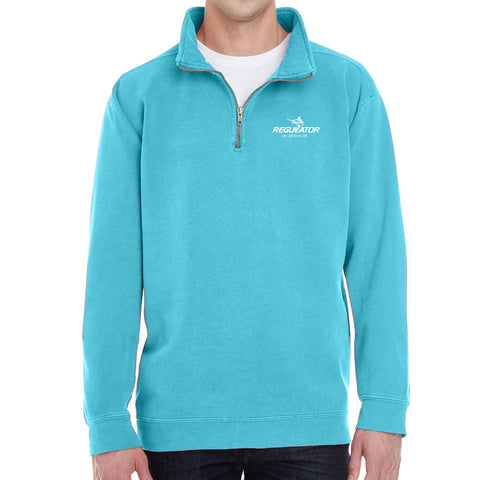 Embroidered Comfort Colors 1/4 Zip Sweatshirt- Lagoon Blue