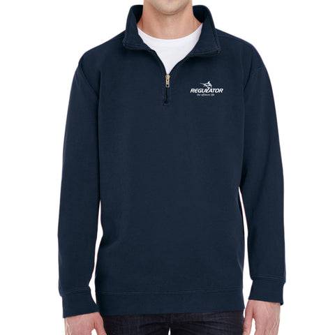 Embroidered Comfort Colors 1/4 Zip Sweatshirt- Navy