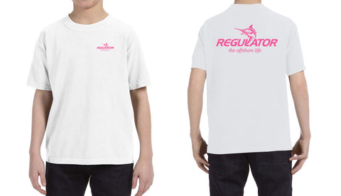 Youth Comfort Colors SS Shirt- White with Pink *Limited Sizes Available*