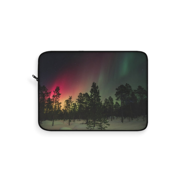 Snowy Night Sky Aurora Laptop Sleeve