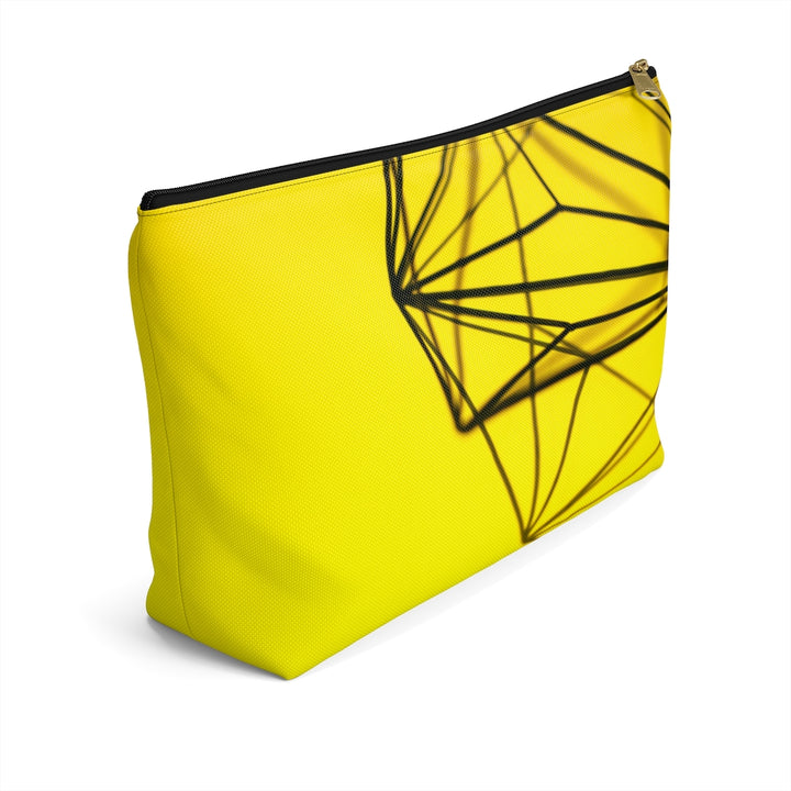 Yellow Metal Wire Design Accessory Pouch