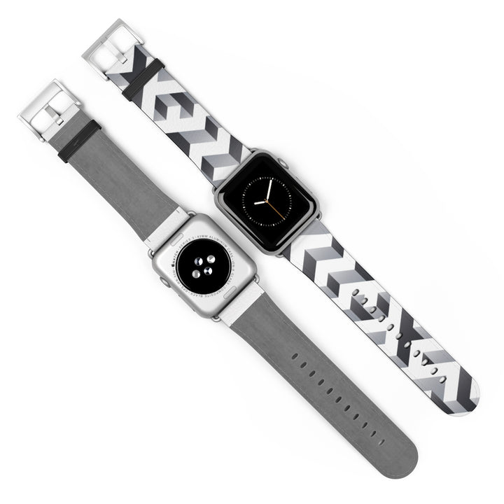 White Geometric Blocks Watch Band for Apple Watch